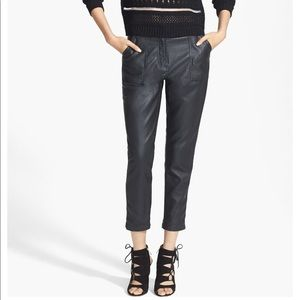 Topshop High Rise Tapered Faux Leather Trousers